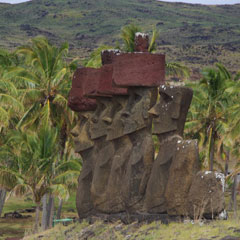 Re-erected Moai at Anakena Beach, Ahu Nau Nau